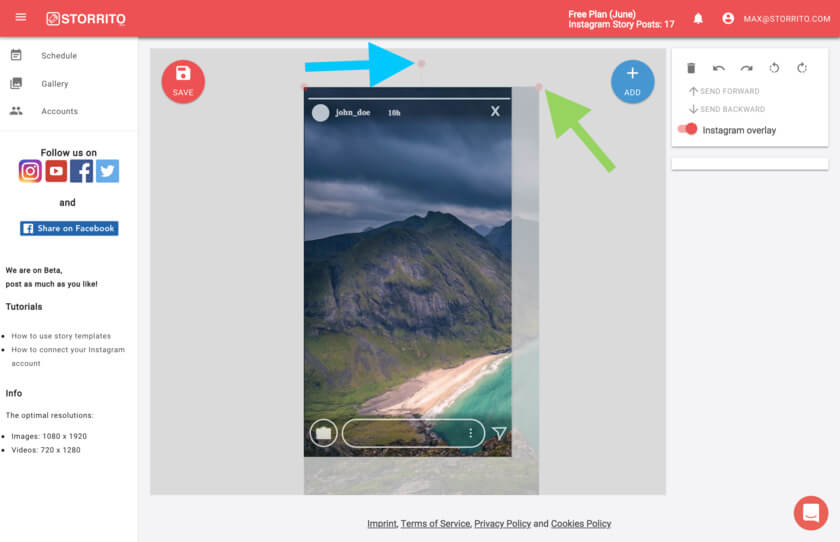 Storrito blog post and schedule your instagram stories with storrito by clicking on the blue round add button you can add more elements to your story as you can see storrito also supports instagrams hashtags usertags ccuart Gallery