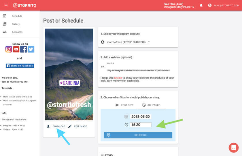 Storrito blog post and schedule your instagram stories with storrito however if you like to post it manually you can also just download the image or video by clicking the download button see blue arrow ccuart Gallery